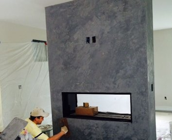 Color plaster fireplace in Alexandria, Virginia