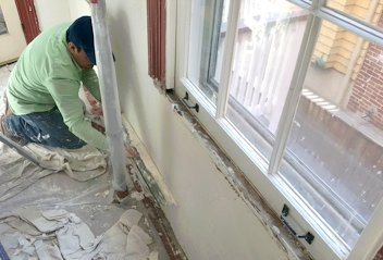 Plastering an historic kitchen in Baltimore, MD
