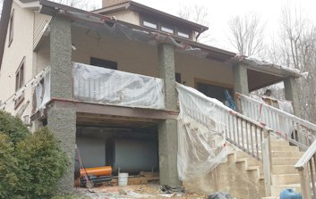 Pebble Dash Stucco replaced on these columns in Linden, Virginia