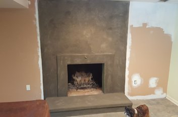 Stucco fireplace in Frederick, Maryland