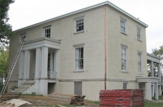 Historic stucco restoration at Elk Hill Farm in Goochland, Virginia